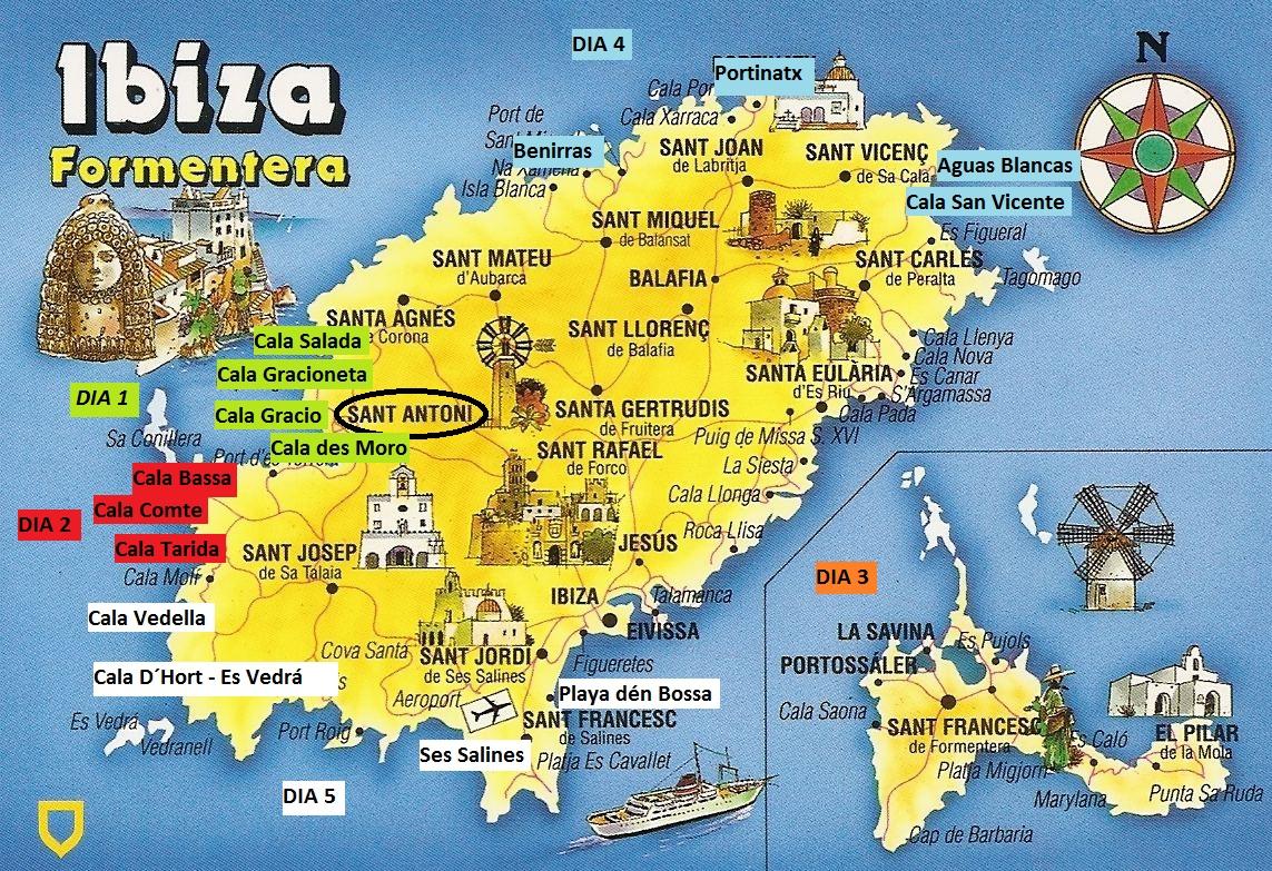 Mapa De Ibiza Calas.Que Ver En Ibiza Y Formentera En 5 Dias Elisabeth