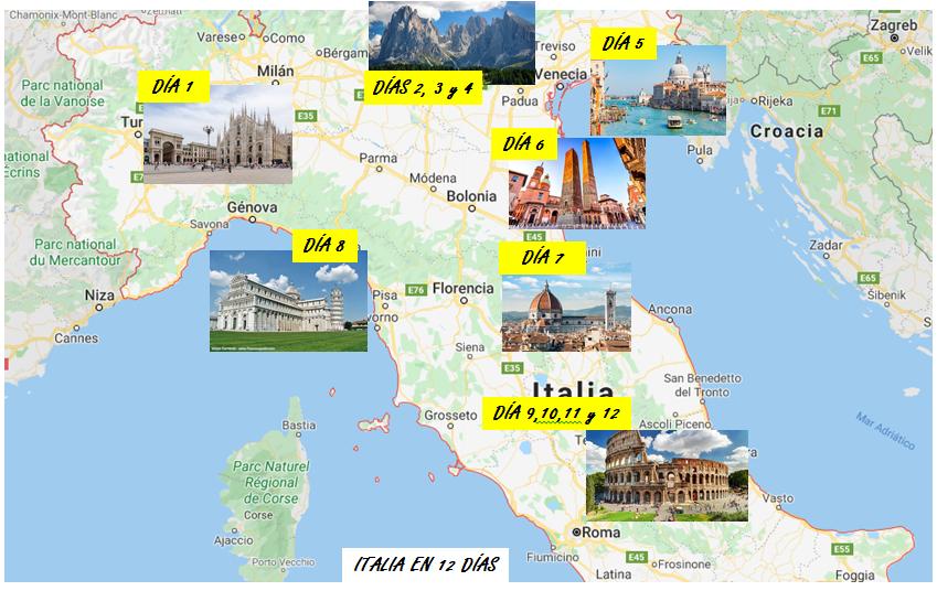 Itinerario Italia que ver