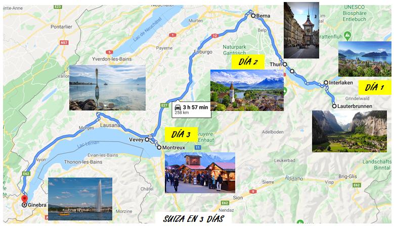 Itinerario Suiza en 3 dias que ver
