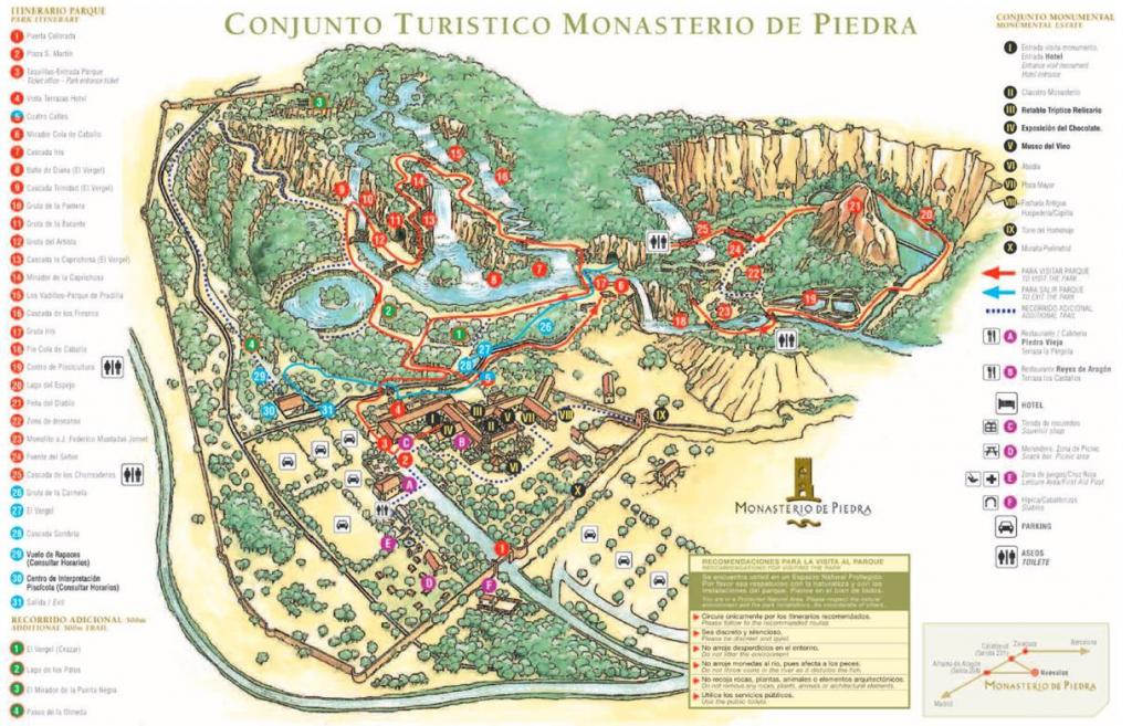 Plano Monasterio de Piedra itinerario