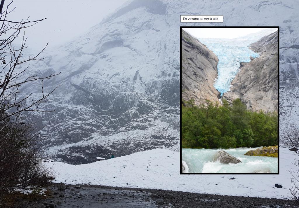 Ruta al Glaciar Briksdalbreen invierno vs verano