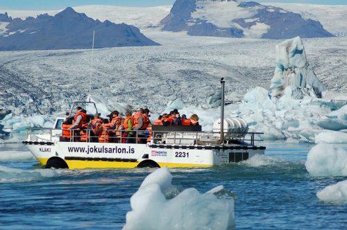 Laguna Glaciar Jökulsárlón Islandia Zodiac barco anfibio