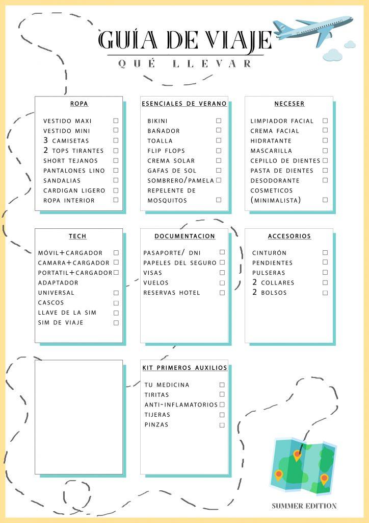 Kit de viaje lista de chequeo