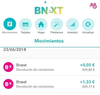 Devolución de comisiones Bnext