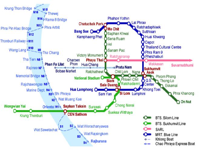 bangkok mapa metro con barco