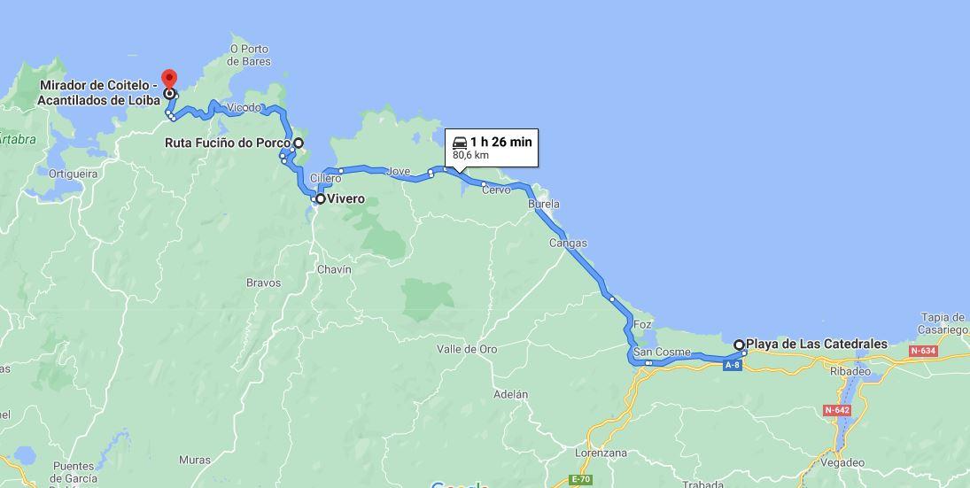 Itinerario Galicia Playa de las Catedrales Fuciño do Porco Banco de Loiba