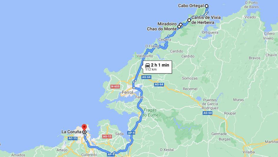 Itinerario Galicia dia 2 Rias Altas