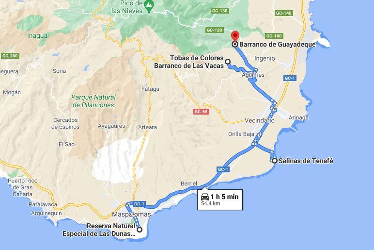 Itinerario Día 8 Las Palmas de Gran Canaria Dunas de Maspalomas Salinas de Tenefe Barranco de las Vacas y Guayadeque